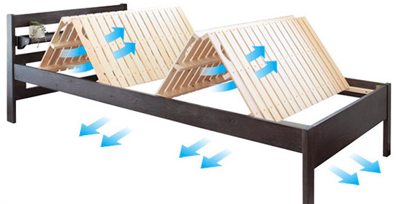 天然木すのこベッド スノコは布団が干せるM字折りたたみ可能