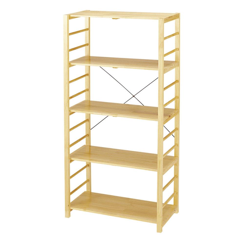 棚が簡単に移動できる天然木フリーラック5段