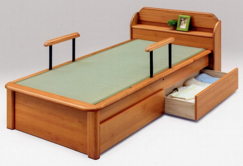 日本製宮付 手摺り付引出付きの畳ベッド(セミダブル)