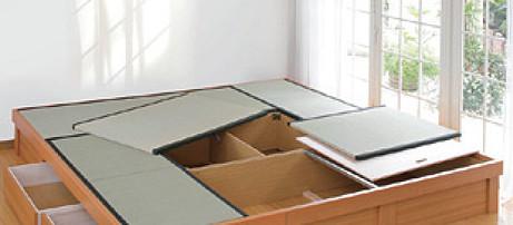 日本製堀こたつユニット畳III-C::四畳半80:247x247へり付:送料無料【80x80cmこたつ対応】4.5帖 たたみ タタミ 天然い草 高床式収納 和室