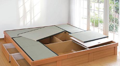 日本製堀こたつユニット畳III-D::四畳半120:247x247へり付:送料無料【80x120cmこたつ対応】4.5帖 たたみ タタミ 天然い草 高床式収納 和室