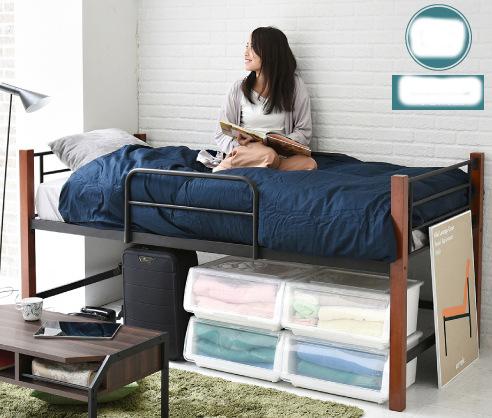 ベッドの下の収納スペースをしっかり確保 あえて中途半端に高めのベッド 保障 下のすき間の高さ53cm 交換無料
