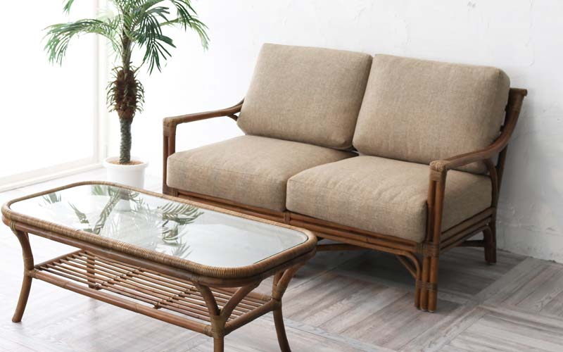 100%正規品 ラタン籐製クラシックソファー2人掛け, ナカガワグン 5715d85a