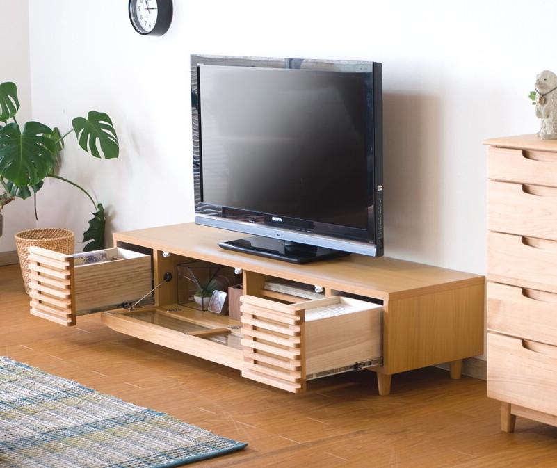 大型テレビにマッチするワイド ロースタイル 期間限定特価品 激安通販販売 天然木無垢材使用自然系オイル塗装テレビボード153cm幅