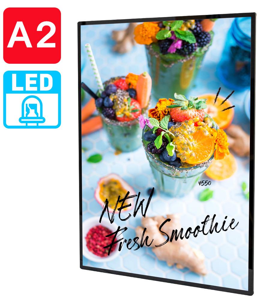幅435×高さ600mm 卓上 壁掛けLED発光A2対応バックライトポスターパネルウェルカムボードお店のメニュー看板に kkkez 誕生日 お祝い お得セット