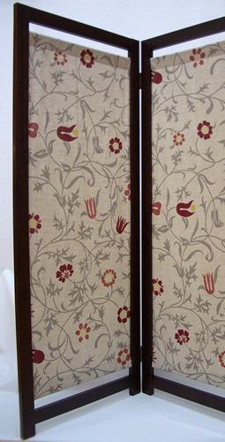 北欧麻パーテーション3連 floral:53x170:送料無料