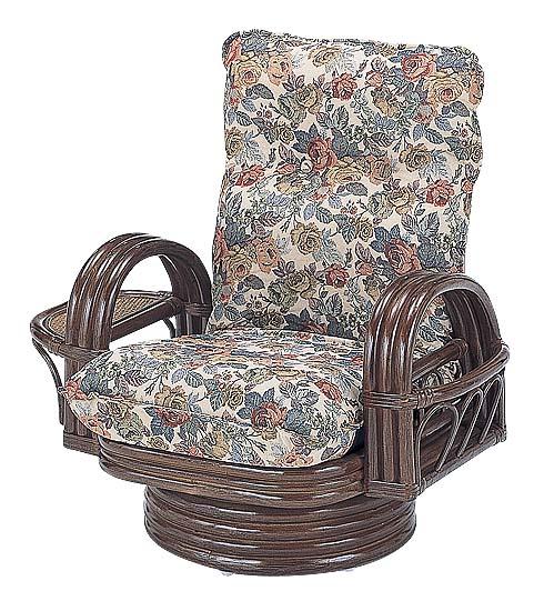 籐ラタン*リクライニング回転座椅子憩 ミドルタイプ:送料無料