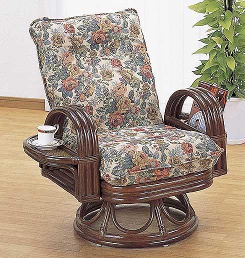 籐ラタン*リクライニング回転座椅子憩 ハイタイプ:送料無料