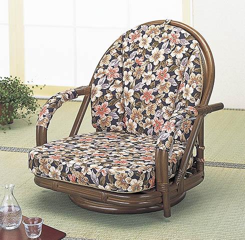 人気海外一番 座椅子 フロアチェアー ローチェアー ロータイプ:送料無料 籐ラタン 回転座椅子さくら 超激安特価