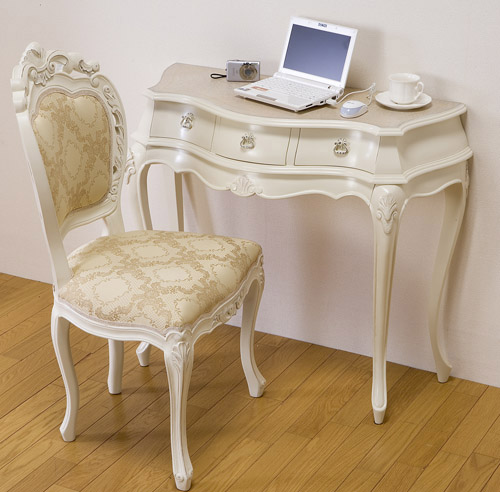 シンデレラ机&チェアー:::送料無料 姫系インテリア ロココ調 ホワイト クラシック ヨーロピアン ロマンティック 家具