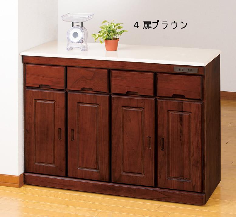 キッチンカウンター天然木&人工大理石天板4扉