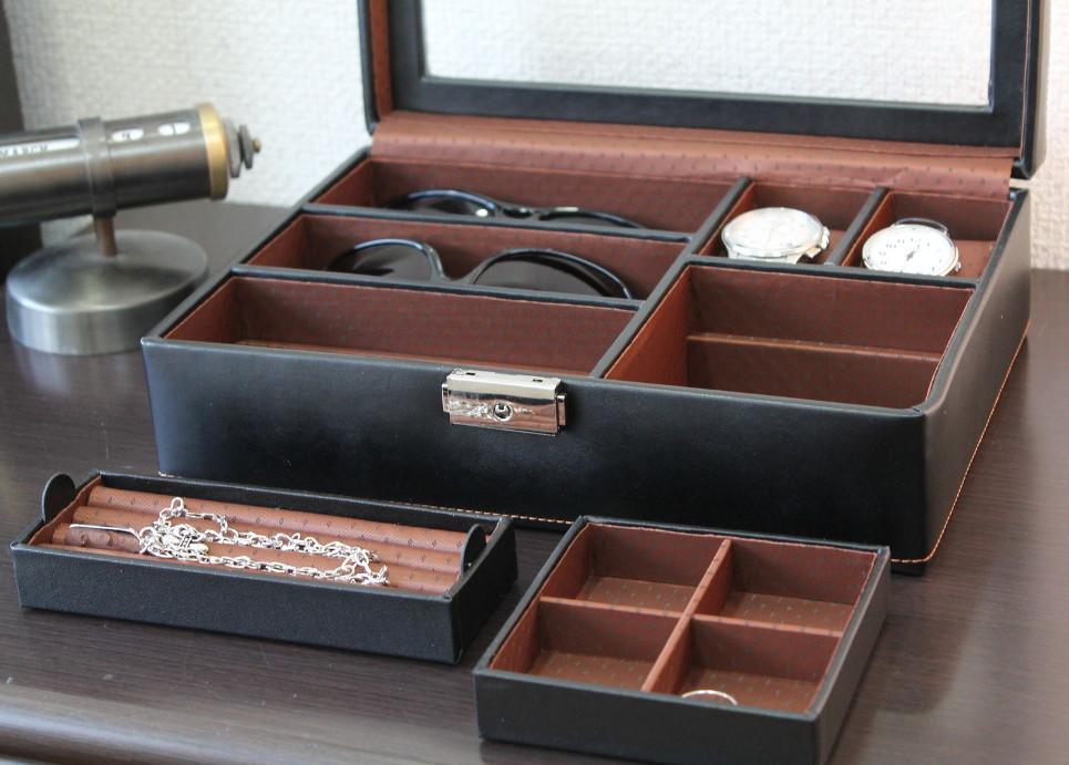 時計 眼鏡 アクセサリー メンズボックスL送料無料 出群 小物収納ケース 直営ストア