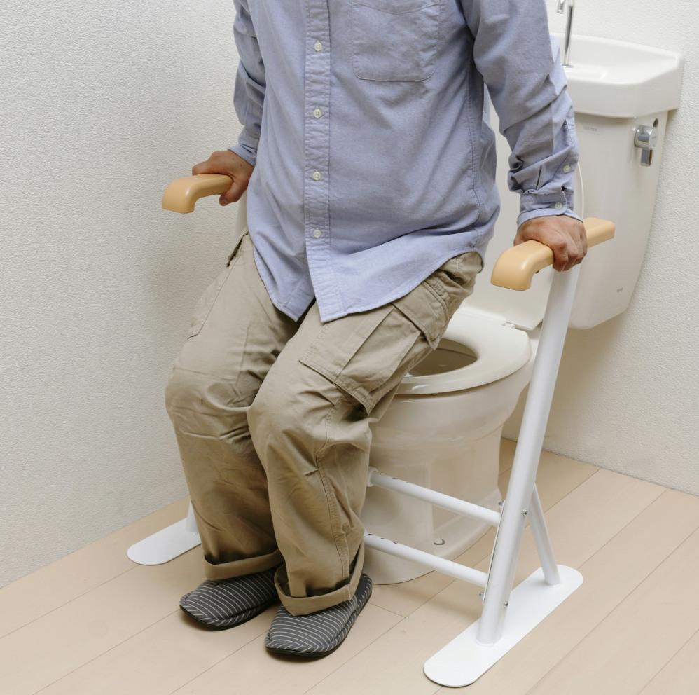 工事不要で簡単設置 手すり部分抗菌加工 介護用品トイレサポート手すり立ち上がり補助 当店は最高な マーケット サービスを提供します 幅5段階伸縮式