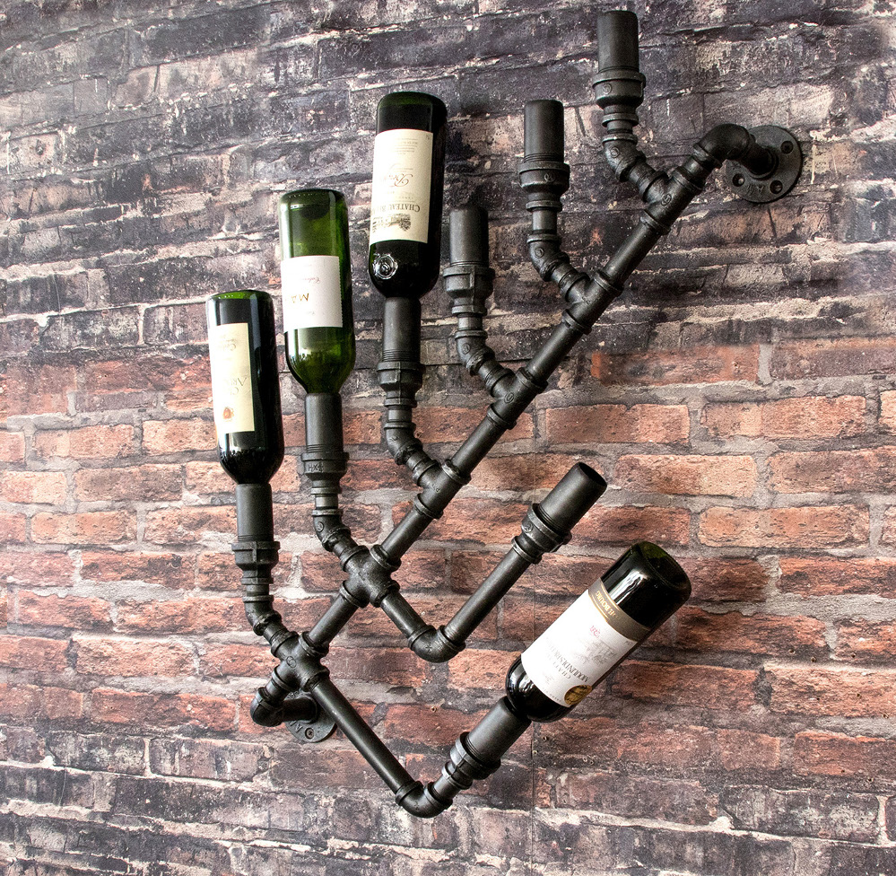 バーに最適 安心の実績 高価 買取 強化中 出色 インダストリアル壁掛けワインラックボトルホルダー