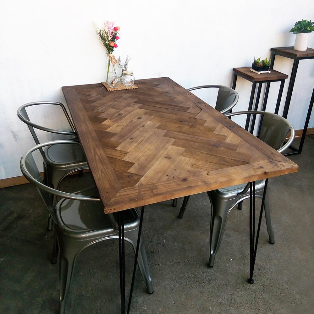 モミ古材ダイニングテーブルヘリンボーン柄ブルックリンヴィンテージスタイル kkkez