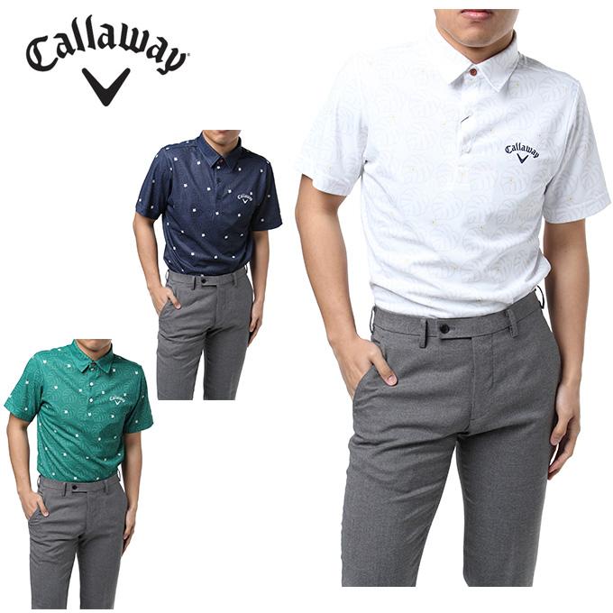 キャロウェイ ゴルフウェア ポロシャツ 半袖 メンズ モンステラ鹿の子 241-8157503 Callaway