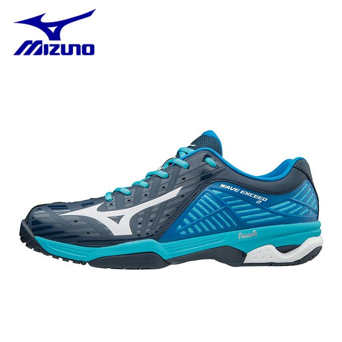 ミズノ(Mizuno) ウエーブエクシード2 ワイド OC (WAVE EXCEED 2 WIDE OC) 61GB-181301 ブルー×ホワイト×ネイビー 2018年モデル テニスシューズ メンズ レディース オムニクレー