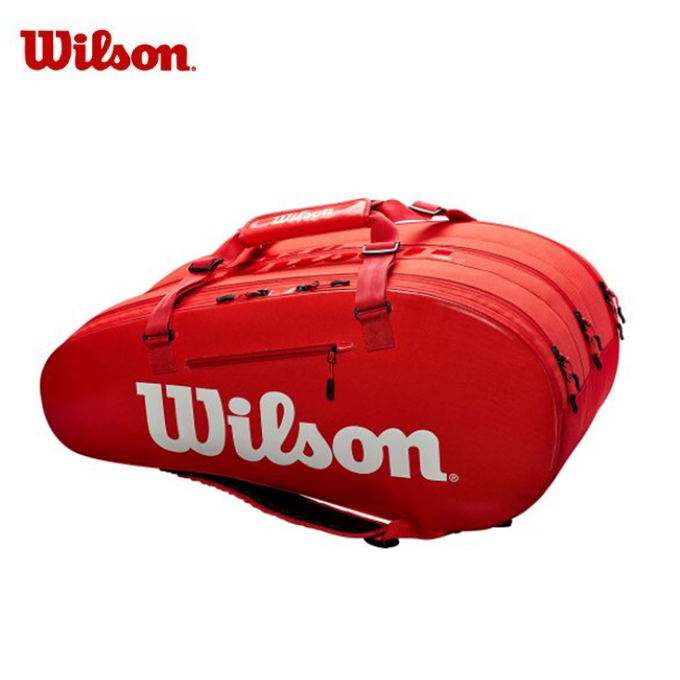 【期間限定 500円OFFクーポン発行中】ウィルソン(Wilson) (ラケット15本収納可能) スーパーツアー3コンプ RED (SUPER TOUR 3 COMP) WRZ840815 ラケットバッグ リュック テニスバッグ