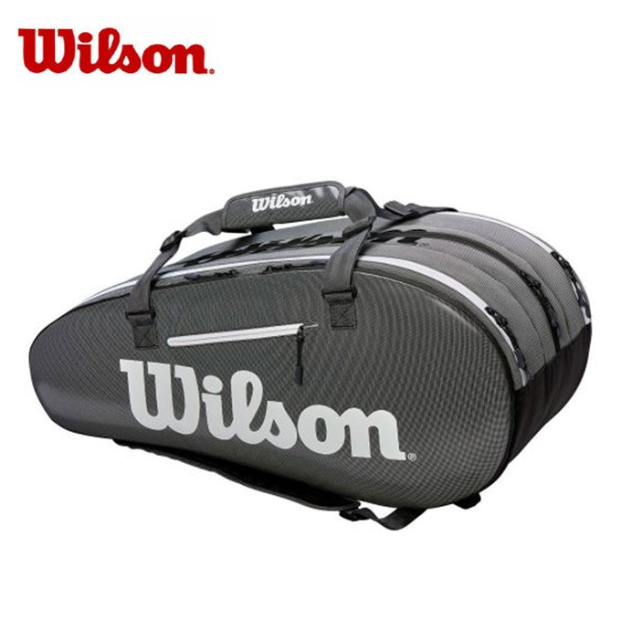 【12/1(日)限定 エントリーでP10倍!】ウィルソン(Wilson) (ラケット15本収納可能) スーパーツアー3コンプ BKGY (SUPER TOUR 3 COMP) WRZ843915 ラケットバッグ リュック テニスバッグ