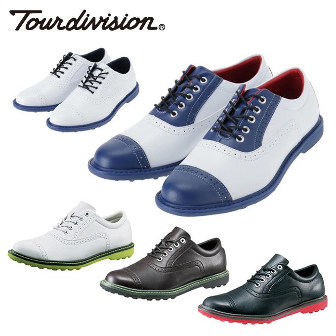 購入後レビュー記入でクーポンプレゼント中 定番スタイル ツアーディビジョン Tour division ゴルフスパイク スパイクレス TD230102E01 全国どこでも送料無料 メンズ クラシックスタイルゴルフシューズ 靴