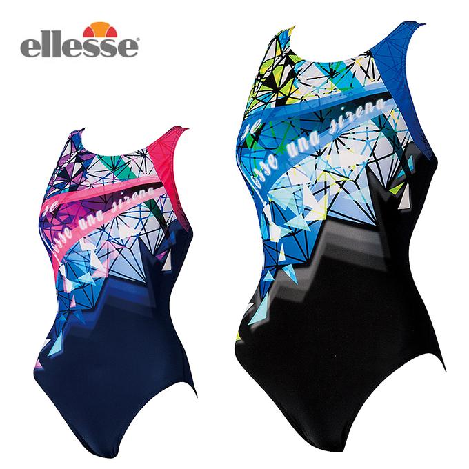 エレッセ ellesse フィットネス水着 オールインワン レディース プリントULストレッチ ワンピース ES37262 スイムウェア 水着