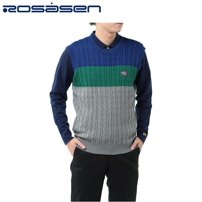 ロサーセン ROSASEN ゴルフウェア ベスト メンズ 配色ニット 044-46870