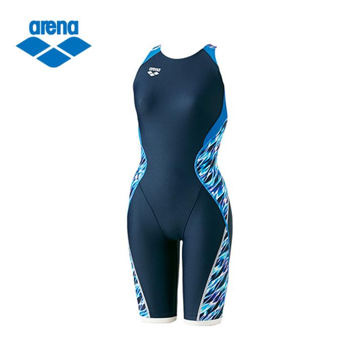 アリーナ FINA承認 競泳水着 ハーフスパッツ レディース ウロコスキン セイフリーバックスパッツ ARN-8056W-NVBU arena