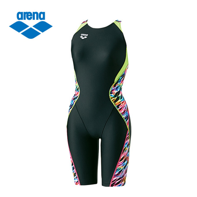 アリーナ FINA承認 競泳水着 ハーフスパッツ レディース ウロコスキン セイフリーバックスパッツ ARN-8056W-BKMT arena