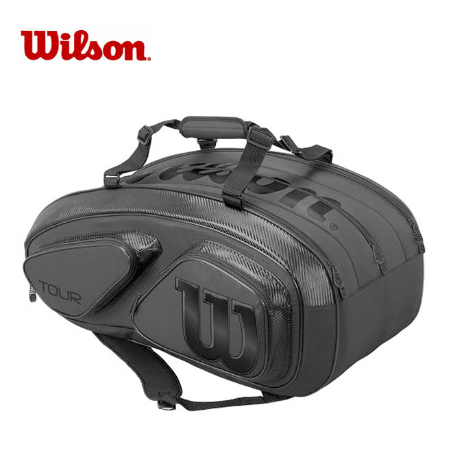 【クーポン利用で1000円引 11/18 23:59まで】 ウイルソン Wilson ラケットバッグ メンズ レディース TOUR V 15 PACK BLACK EDITION ツアー パック ブラック エディション WRZ841815