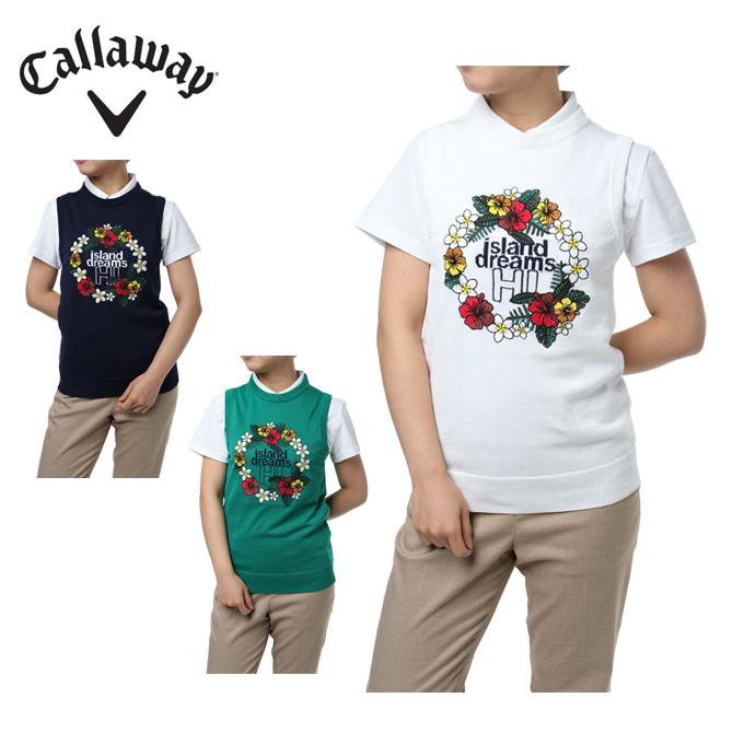 キャロウェイ ゴルフウェア ベスト レディース レイ刺繍クルーネックニット 241-8161800 Callaway