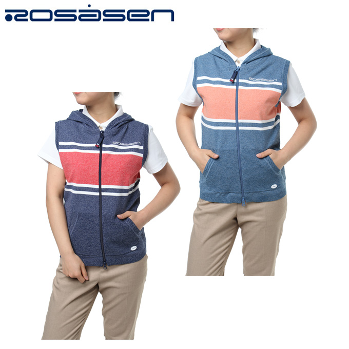 ロサーセン ROSASEN ゴルフウェア ベスト レディース レトロ配色FZニット 045-47272