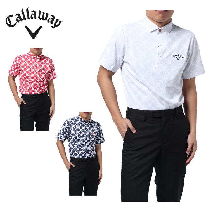 キャロウェイ ゴルフウェア ポロシャツ 半袖 メンズ 柄プリント鹿の子 241-8157500 Callaway