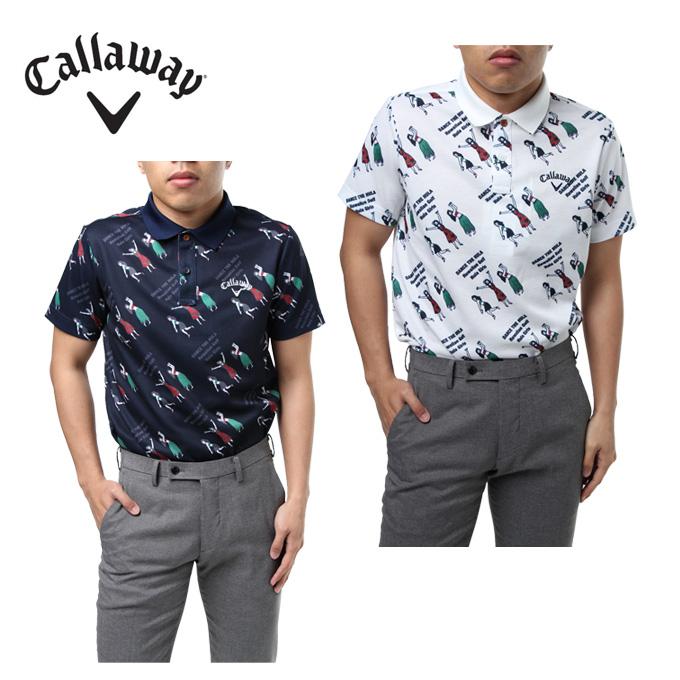 キャロウェイ ゴルフウェア ポロシャツ 半袖 メンズ フラガールプリント鹿の子 241-8151503 Callaway