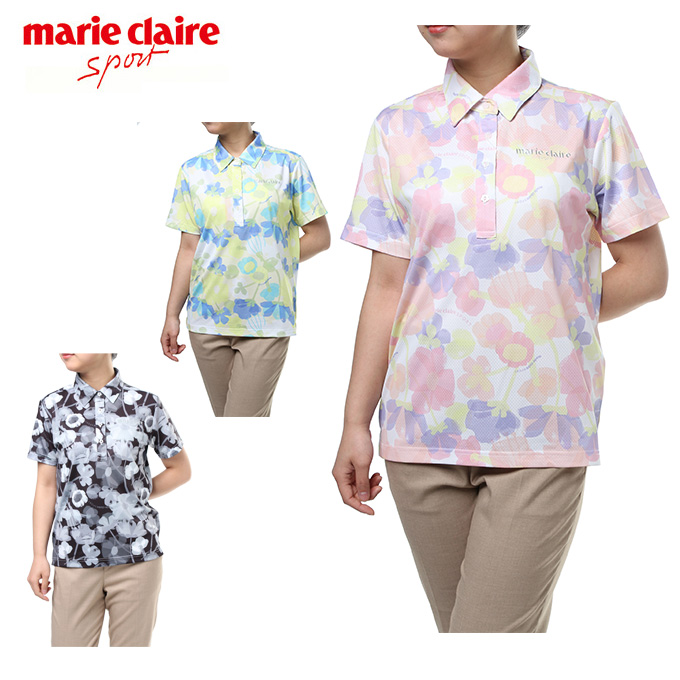 マリ クレール marie claire ゴルフウェア ポロシャツ 半袖 レディース アイレット花柄 718-604