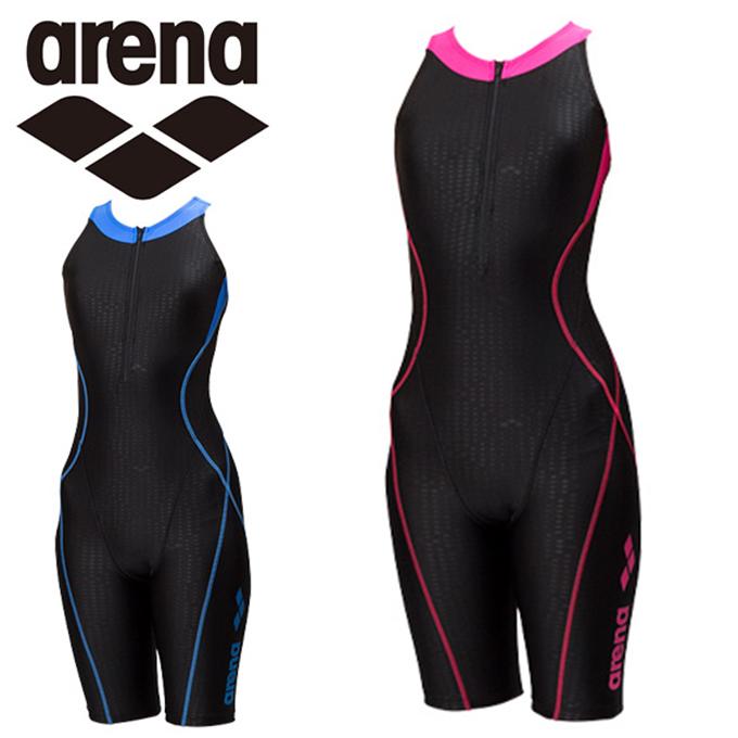 アリーナ arena フィットネス水着 オールインワン レディース AQUA EXA ファスナー付きサークルバックスパッツ FLA-8802W