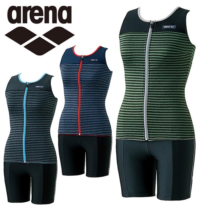 アリーナ arena フィットネス水着 セパレート レディース 大きめカラースナップ付きセパレーツ LAR-8246W