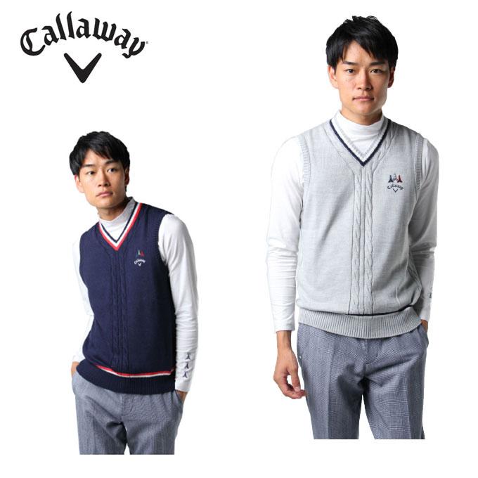 キャロウェイ ゴルフウェア ベスト メンズ ケーブルニット 241-8261502 Callaway
