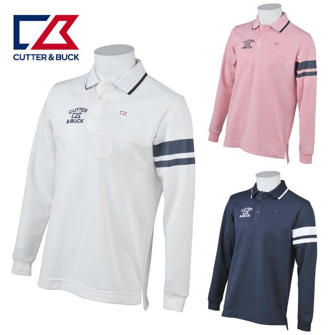 カッター&バック CUTTER&BUCK ゴルフウェア ポロシャツ 長袖 メンズ Wニット鹿の子長袖シャツ CGMMJB04