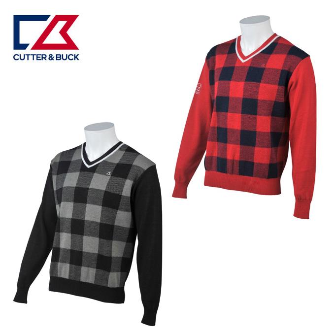 カッター&バック CUTTER&BUCK ゴルフウェア セーター メンズ チェック柄Vネックセーター CGMMJL01