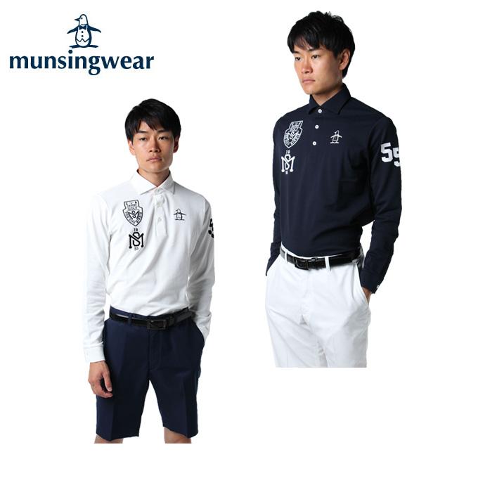 マンシング Munsingwear ゴルフウェア ポロシャツ 長袖 メンズ リフレスリンクスモチーフ柄 MGMMJB14
