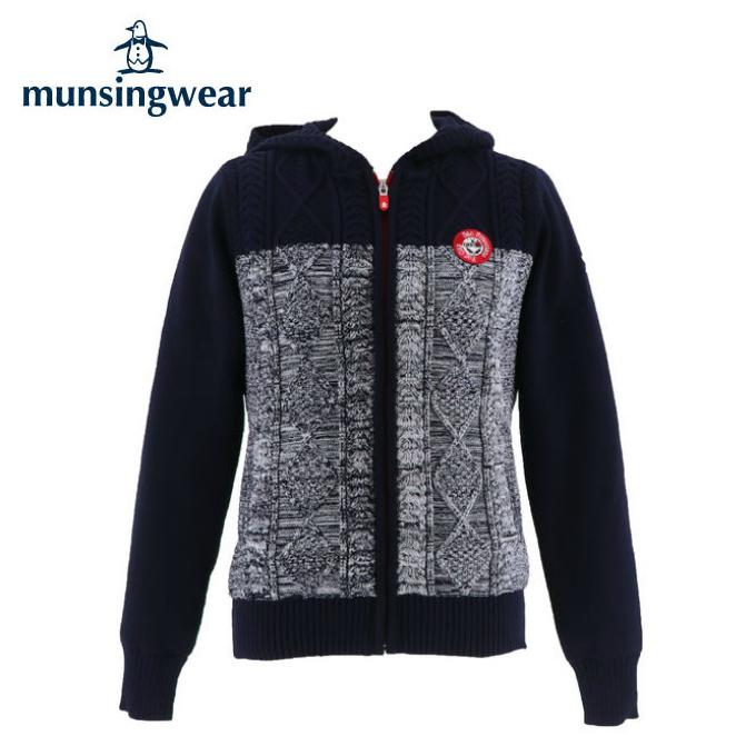 マンシング Munsingwear ゴルフウェア セーター レディース ケーブル編みフルジップニット MGWMJL06