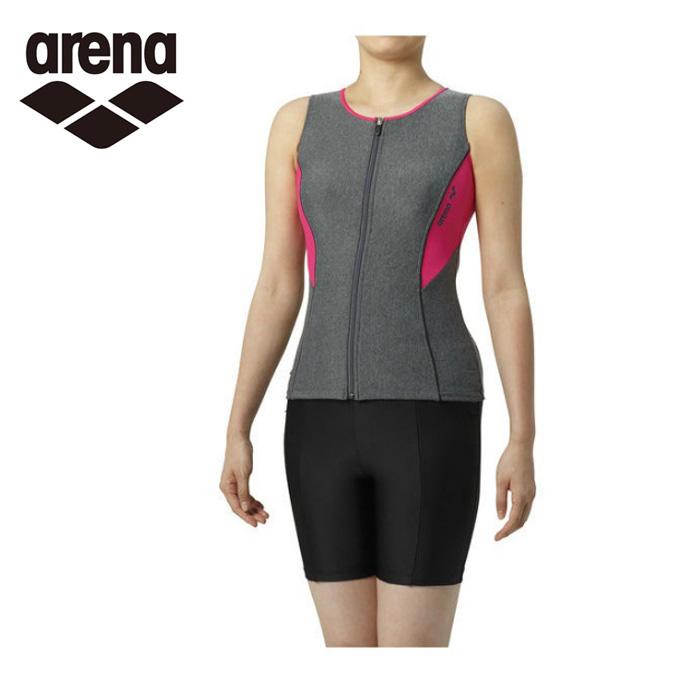 アリーナ arena フィットネス水着 セパレート レディース 大きめカラースナップ付きセパレーツ差し込みフィットパッド LAR-9241W-MKPK