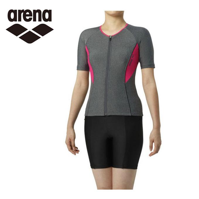 アリーナ arena フィットネス水着 セパレート レディース 大きめカラースナップ付き袖付きセパレーツ 差し込みフィットパッド LAR-9242W-MKPK