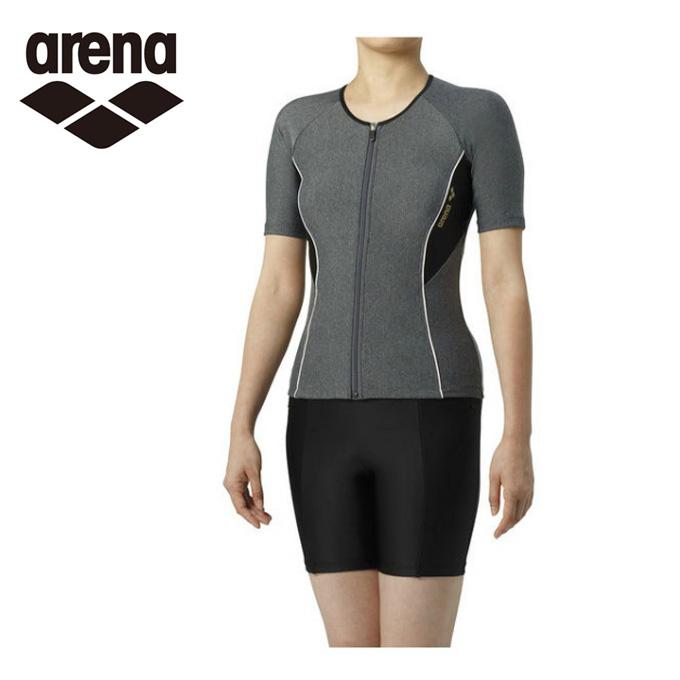 アリーナ arena フィットネス水着 セパレート レディース 大きめカラースナップ付き袖付きセパレーツ 差し込みフィットパッド LAR-9242W-MKBK