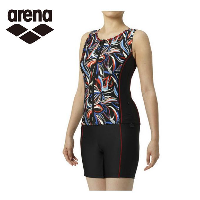 アリーナ arena フィットネス水着 セパレート レディース 大きめカラースナップ付きセパレーツ 差し込みフィットパッド LAR-9249W
