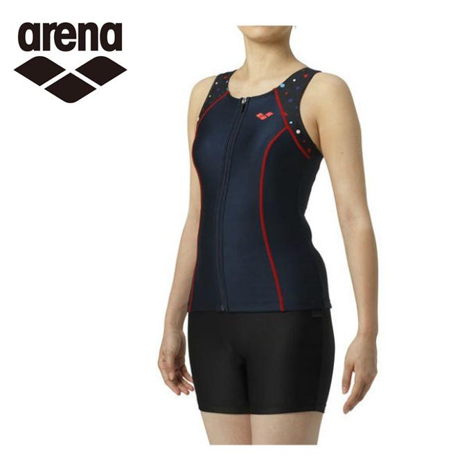 アリーナ arena フィットネス水着 セパレート レディース 大きめカラースナップ付きHASSUIセパレーツ ぴったりパッド LAR-9244W