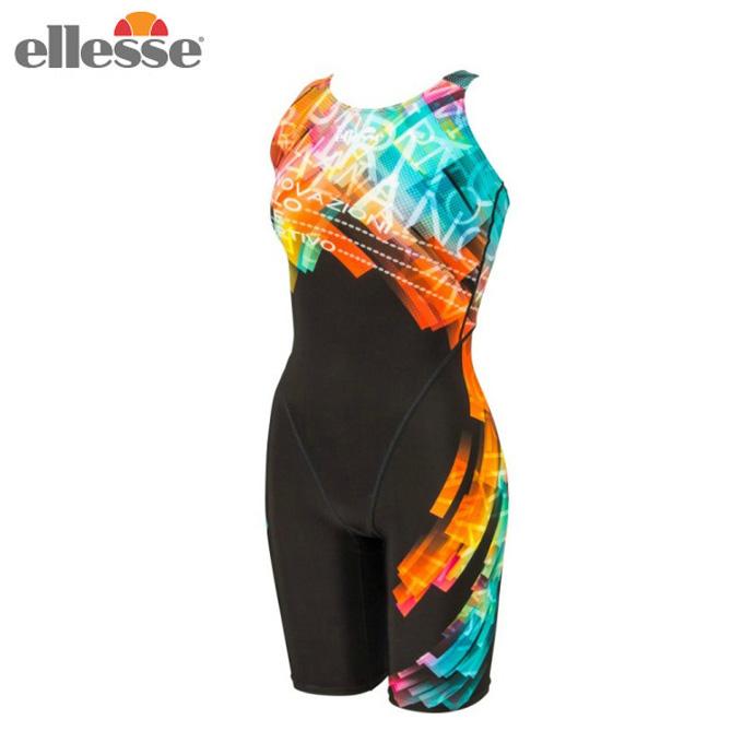 エレッセ ellesse FINA承認 競泳水着 レディース プリズムロゴプリントFオールインワン マスターズ水着 ES49100F KG