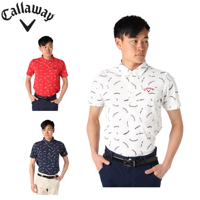 キャロウェイ ゴルフウェア ポロシャツ 半袖 メンズ レタープリント 241-9157531 Callaway