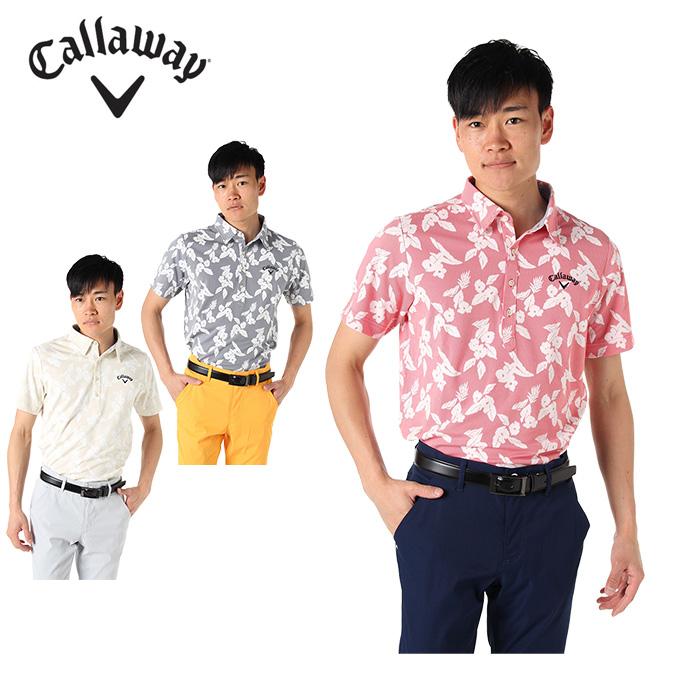 【ポイント5倍 1/6 9:59まで】 キャロウェイ ゴルフウェア ポロシャツ 半袖 メンズ フラワーストライプ 241-9157530 Callaway