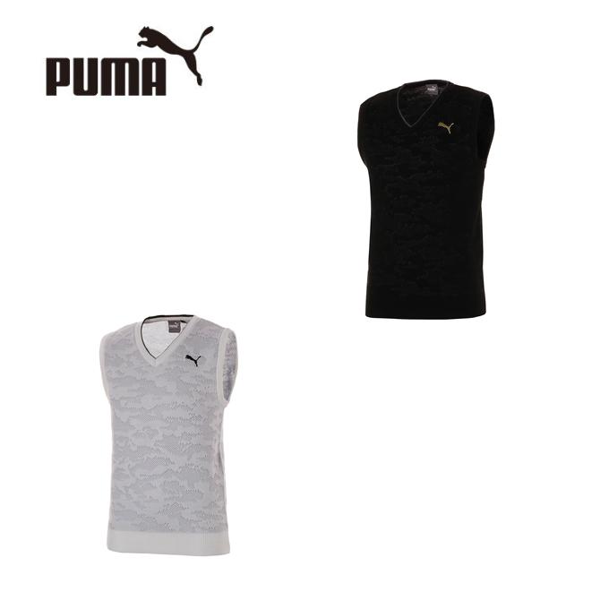 プーマ ゴルフウェア ベスト メンズ カモ Vネック ニットベスト 923825 PUMA